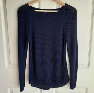 Eileen Fisher Navy Ballet Neck Sweater Size Small